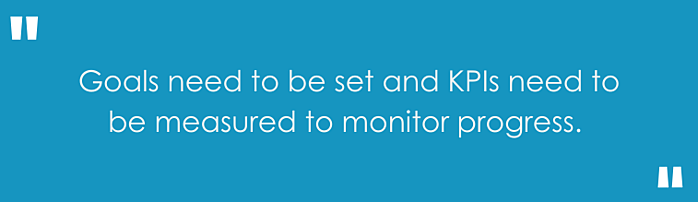 Goals need to be set and KPIs need to be measured to monitor progress
