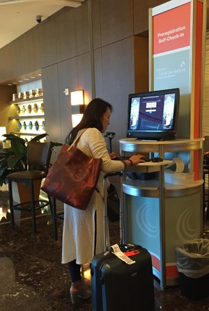 check-in at hotel kiosk