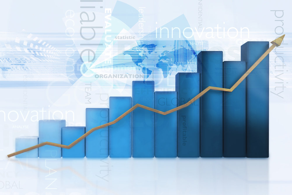 3d business chart showing growth - isolated over a blue background