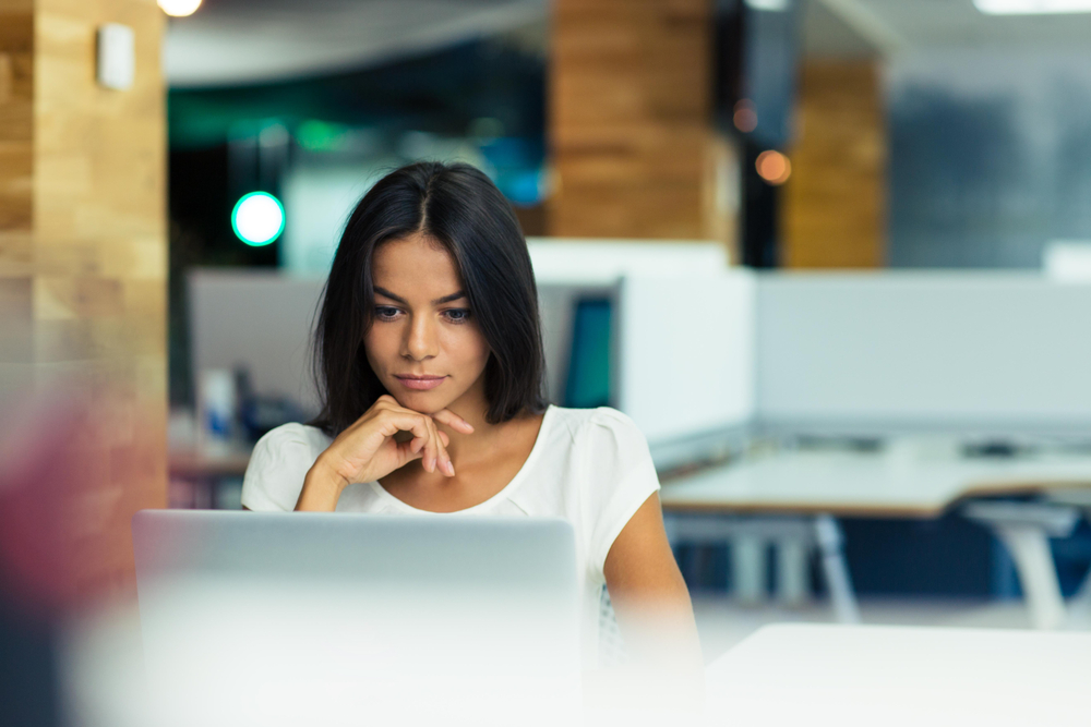 Business woman focusing on computer work